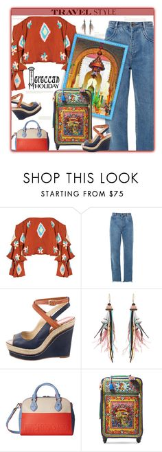 """Morocco Travel Style"" by fassionista ❤ liked on Polyvore featuring Mochi, Chloé, Paloma Berceló, Etro, Love Moschino, Dolce&Gabbana, denim, jeans, Morocco and outfitsfortravel"