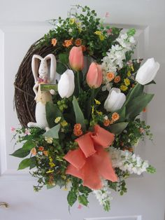 Easter Wreath Front Door Wreath Easter Bunny by FunFlorals on Etsy