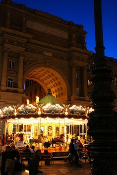 Carousel on Piazza della Republicca, Florence, Italy. Walking through this city at night is like a fairytale.