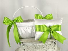 Lime Green and White Flower Girl Basket and Ring Bearer Pillow Set-Lime Green Accent-READY to SHIP. on Etsy, $49.95