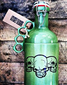 64oz Stoneware Growler  The Peacemaker in Green with Custom Image by GooseCreekGrowlers.com, $75.00  Get it at: http://goosecreekgrowlers.com/products/the-peacemaker-green-64-oz-custom-graphic