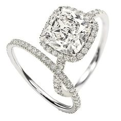 Harry Winston Cushion-Cut Diamond Engagement Ring and Band -- this is literally my perfect engagement ring/wedding band set. i love the thin band omg, this is like mine but I don;t wear a Harry Winston. My engagement ring is a gorgeous Diamond Rings, Diamond Engagement Rings, Diamond Cuts, Halo Diamond, Solitaire Rings, Engagement Bands, Halo Rings, Diamond Jewellery, Diamond Girl