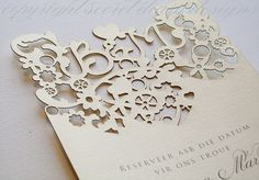 From laser cut invitations to full laser cut stationery including but not limited to laser cut bunting, laser cut menus, laser cut perspex table numbers - Secret Diary Designs offers it all! Wedding Paper, Wedding Cards, Diy Wedding, Wedding Reception, Wedding Ideas, Wedding Things, Bespoke Wedding Invitations, Wedding Stationary, Vintage Stationary