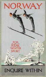 vintage ski poster - Norway, For Real Winter Sport  Designer:Freda Lingström  1930