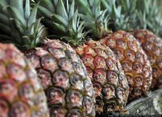 Ripe Pineapple: The first sign of a pineapple's ripeness is its color. It should be golden-brown, without much green color left at the base. A sweet smell also indicates this fruit's ripeness. If a pineapple doesn't give off a scent, it's not quite ripe yet. If it smells a tad vinegary, it's overripe.