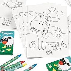 Bauernhof Party - Postkarten- & Wachsmalstifte Partyspiel Malset