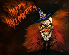 """Ready to go for """"Trick or Treat"""" in your Halloween costume? Gift this Halloween wallpaper HD to your friends who are going to accompany you on this Halloween night. Halloween 2018, Scary Halloween Images, Clown Halloween, Photo Halloween, Happy Halloween Pictures, Halloween Music, Creepy Clown, Halloween Clipart, Halloween Quotes"""
