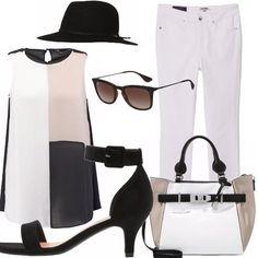 Un abbigliamento completamente impostato sui contrasti del bianco e del nero! Un outfit chic, casual con un tocco di eleganza dato dal sandalo che col tacco non molto alto permette di essere sia elegante che comoda allo stesso tempo! Perfetto per fisici curvy!