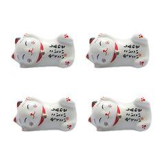 Set Von 4 Japanischen Keramik Lucky Cat Shaped Stäbchen Löffel Gabeln Halter C - http://besteckkaufen.com/blancho/set-von-4-japanischen-keramik-lucky-cat-shaped-st-l-10