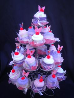 Baby Shower Washcloth Cupcake Favors  24 piece Butterfly Theme Carter Girl  $27.99 for 24 pieces