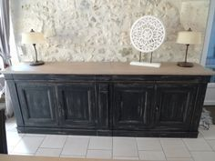 Buffet 4 portes Decor, Painted Furniture, Buffet Cabinet, Cute Little Houses, Home Decor, Small Fireplace, Rustic Living Room, Furniture, Console And Sofa Tables