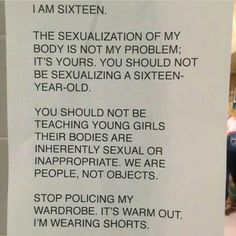 This is why 90% of my wardrobe is basketball shorts and sweatpants. Nothing remotely sexual about them. But no one should be treated like an object, or I will punch the goddamn offender in the face.