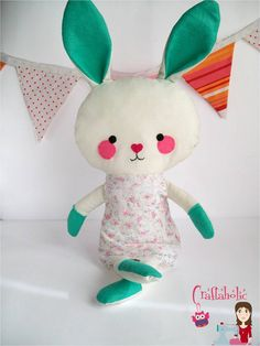 Bunny doll, bunny softie toy made of fabric - 18 inches tall - Dress included - Easter bunny  READY to ship