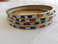 Bangle Bracelet Lot of Four Boho Enamel Bracelets Vintage 1970's Stack of Bangles Cloisonne