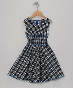 Take a look at this Green & Blue Plaid Square Neck Dress - Toddler & Girls by Lele for Kids on #zulily today!