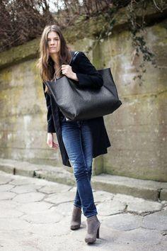 Black Ostrich Oversized Bag everyday tote bag by PatkasBerlin