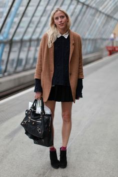The long coat with the short skirt is lovely. Love the camel color do that coat! Also, love the whole thing with the ankle boots.
