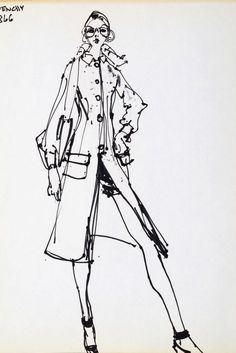 Kenneth Paul Block (1924–2009), Givenchy Runway, black felt tip on paper, 34.5 x…