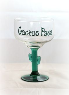 The high school drama department put on a play this year called Cactus Pass. This was done for the director Custom Wine Glasses, Personalized Wine Glasses, High School Drama, Cactus, Play, Tableware, Dinnerware, Tablewares, Dishes