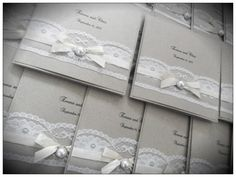 Rustic vintage pocketfold wedding invitation with lace and pearls. $6.00, via Etsy.