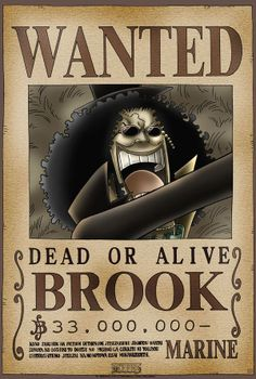 Póster One Piece. Brook, Se Busca Póster con la imagen de Brook Se Busca, personaje del manga y anime japonés One Piece.
