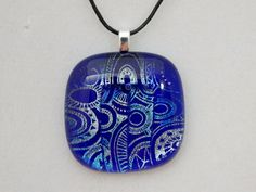 Blue and Silver Dichroic Glass Pendant by ZacInTheBoxCreations on Etsy