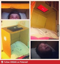 Awesome way to watch movies in bed.  I'm going to have to remember this next time I'm sick.
