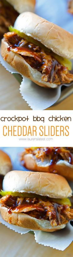 crockpot bbq chicken cheddar sliders