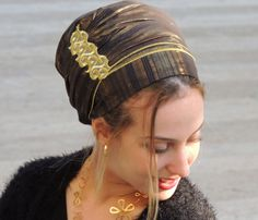 Sparkling Black & Gold Tichel For Special Occasions,Hair Snood, Head Scarf,Head Covering,jewish headcovering,Scarf,Bandana,apron