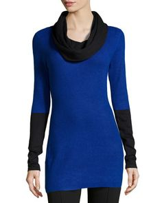 Colorblock Tunic Sweater, Black/Cobalt by Neiman Marcus at Neiman Marcus Last Call.