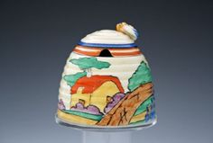 Orange Roof Cottage Large Beehive Honey Pot   Clarice Cliff   Desired Antiques & Collectables
