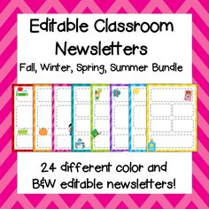 Editable Classroom Newsletter! Fall, Winter, Spring, and Summer Bundle!