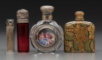 Four Victorian Perfume Bottles Circa 1880-1900. Glass, silver, collage, painted miniature. Ht. 3-1/4 in. (ta