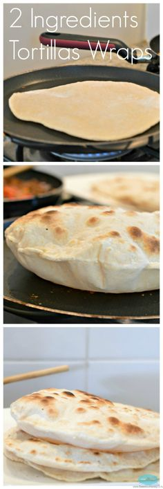 Flour Tortillas Wraps with 2 Ingredients - The quickest way to make a flour tortilla is simply by mixing white flour and luke warm water! No need to add baking powder, salt or oil. Only 2 ingredients! And look how they puff when cooking! Recipes With Flour Tortillas, Homemade Tortillas, Healthy Flour Tortilla Recipe, Mexican Food Recipes, Vegan Recipes, Cooking Recipes, 2 Ingredient Recipes, Good Food, Yummy Food