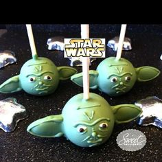 Yoda cake pops...I bet I know a few people who will go crazy over these by carey
