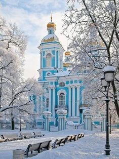 St Nicholas Naval Cathedral in winter, St Petersburg, Russia Russian Architecture, Beautiful Architecture, Moscow Winter, Places Around The World, Around The Worlds, Places To Travel, Places To Go, Russian Winter, St Petersburg Russia