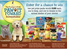 Enter the Puritan's Pride 'Paw It Forwardl' Sweepstakes for a chance to win 1 of 4 Purina Pet Packages!