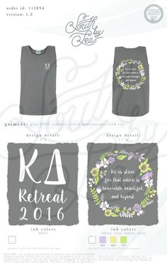 Kappa Delta | KD | Retreat | Let us Strive for what is Honorable, Beautiful, and Highest | Quotes | Creed | Floral Wreath | Bid Day | Recruitment | Sisterhood | South by Sea | Greek Tee Shirts | Greek Tank Tops | Custom Apparel Design | Custom Greek Apparel | Sorority Tee Shirts | Sorority Tanks | Sorority Shirt Designs