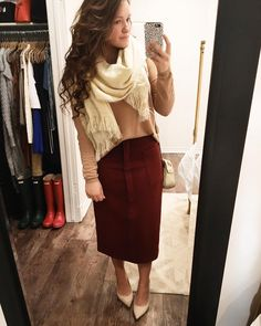 """""""I absolutely love this new wool asos skirt! I paired it with an hm top and a freepeople scarf! Jw Fashion, Modest Fashion, Winter Fashion, Womens Fashion, Apostolic Fashion, Fashion News, Fashion Dresses, Classy Fall Outfits, Cute Outfits"""