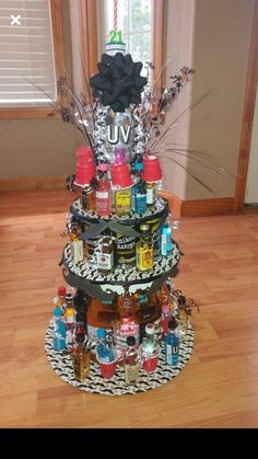 """My sons birthday """"cake"""". Alcohol tower cake – Birthday Presents Alcohol Birthday Cake, Alcohol Cake, 21st Birthday Cakes, Birthday Diy, Birthday Presents, Birthday Ideas, Birthday Beer, Alcohol Gifts, Drinks Alcohol"""