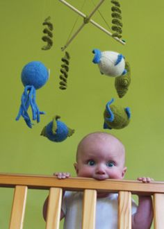 """Gone Fishin'"" Mobile by Tin Can Knits. Cute baby!"