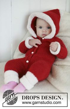 My First Christmas - Santa onesie with hood for baby and children in 2 threads DROPS Alpaca - Free pattern by DROPS Design Baby Knitting Patterns, Baby Sweater Knitting Pattern, Christmas Knitting Patterns, Knitting For Kids, Free Knitting, Crochet Patterns, Drops Design, Drops Alpaca, Crochet Design