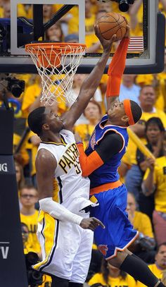 Roy Hibbert (Indiana Pacers) blocks Carmelo Anthony (New York Knicks) in 2013 Eastern Conference Semi-Finals game (Pacers win and advance to Conference Finals) Twitter / MattKryger: PHOTO: