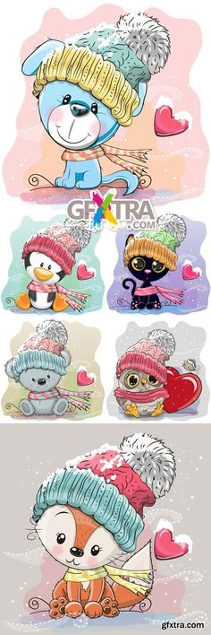 Cute Winter Animals Cards Vector