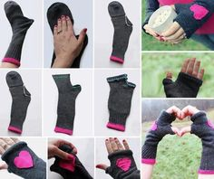 Socks into gloves/handwarmers. I've got lots of socks with holes in the toes. Sock Crafts, Fabric Crafts, Sewing Crafts, Sewing Projects, Diy Crafts, Fall Crafts, Craft Projects, Craft Ideas, Diy Clothing