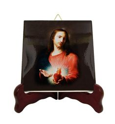 Religious gifts - Sacred Heart of Jesus - catholic art - ceramic icon handmade in Italy - devotional gifts - holy art - Jesus art Catholic Gifts, Catholic Prayers, Catholic Art, Religious Gifts, Jesus Art, Jesus Christ, Heart Of Jesus, Tile Murals, Religious Icons