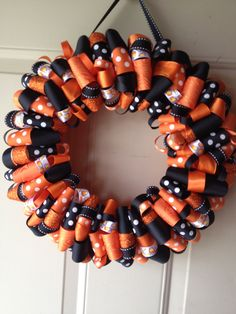Halloween Candy Corn Ribbon Wreath by KatieRibbonWreaths on Etsy, $40.00