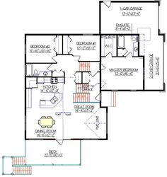 Bi-Level House Plan with a Bonus Room 2010592 by E-Designs Home Design Plans, Home Interior Design, Simple Floor Plans, Open Stairs, Bonus Rooms, Night Photography, Modern Bedroom, Layout Design, Modern Design