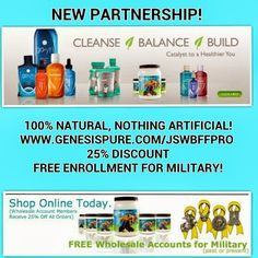 GENESIS PURE: MY CHOICE FOR AN ORGANIC, NATURAL WEIGHT LOSS & WELLNESS SOLUTION www.genesispure.com/jswbffpro FREE SIGN UP FOR #MILITARY, SPOUSES, & #VETERANS, as well as STUDENTS!