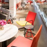 Barber Osgerby Swivel Lounge Chair Barber Osgerby Stool Horsepower MultiGeneration by Knoll Antenna Workspaces Pop Up NeoCon 2015 showroom